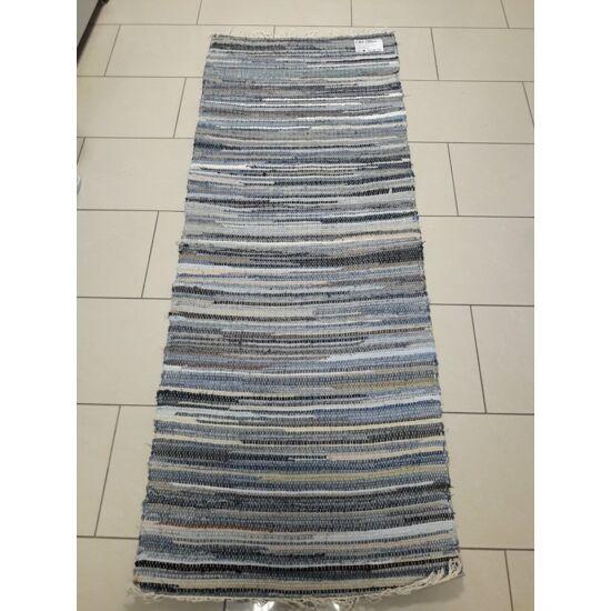 Rongyszőnyeg 70x180 cm barna és kék