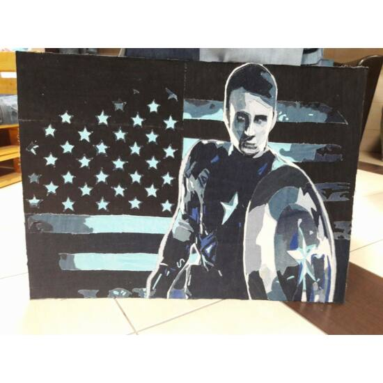 Amerika kapitányt ábrázoló kép farmerból.
