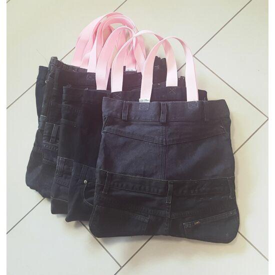 Bevásárló táska farmer részekből fekete